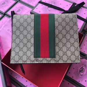 Gucci Beige GG Supreme Web Portfolio Pouch