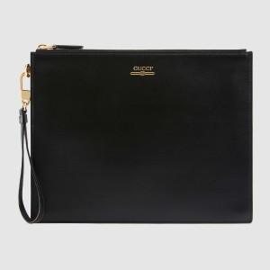 Gucci Black Leather Portfolio Pouch With Gucci Logo