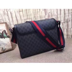 Gucci Black GG Supreme Flap Messenger Bag