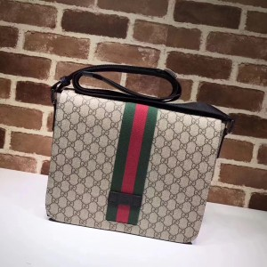 Gucci Beige GG Supreme Web Messenger Bag