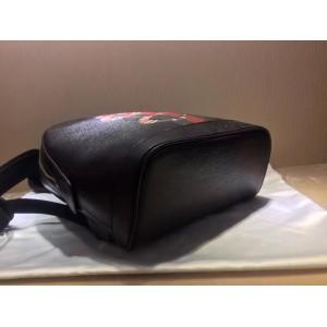 Gucci Black Backpack Web And Kingsnake Print Leather