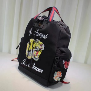 Gucci Black Embroidered Drawstring Backpack