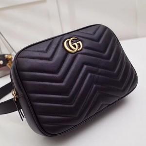 Gucci Black GG Marmont Matelasse Belt Bag