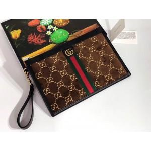 Gucci Brown GG Velvet Portfolio Pouch Bag