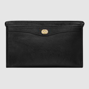 Gucci Black Portfolio Pouch Bag With Interlocking G