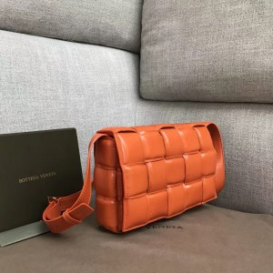 Bottega Veneta Padded Cassette Bag In Orange Calfskin