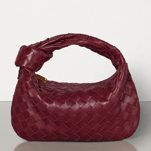 Bottega Veneta Mini BV Jodie Bag In Bordeaux Woven Leather