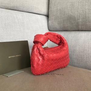 Bottega Veneta Mini BV Jodie Bag In Red Woven Leather