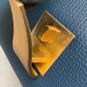 Bottega Veneta Small BV Angle Bag In Deep Blue Palmellato