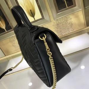 Gucci Black GG Marmont Medium Top Handle Bag