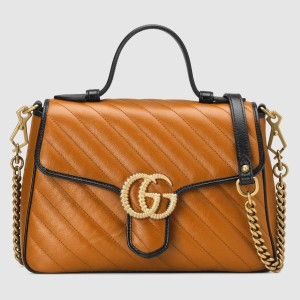 Gucci GG Marmont Small Top Handle Bag In Cognac Diagonal Leather