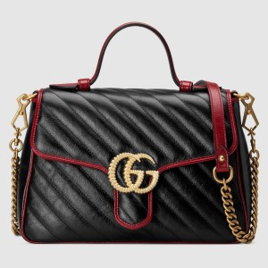 Gucci GG Marmont Small Top Handle Bag In Black Diagonal Leather