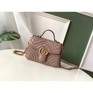 Gucci GG Marmont Mini Top Handle Bag In Dusty Pink Leather