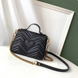 Gucci GG Marmont Mini Top Handle Bag In Black Leather