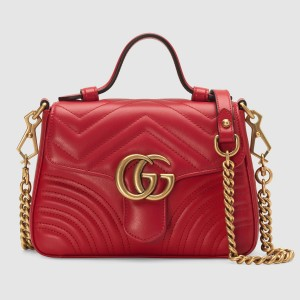 Gucci GG Marmont Mini Top Handle Bag In Red Leather