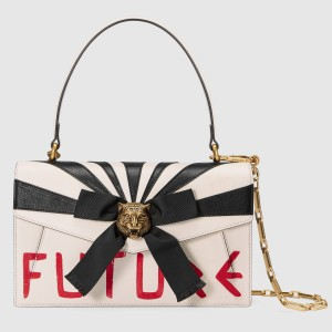 Gucci White Osiride Leather Top Handle Bag