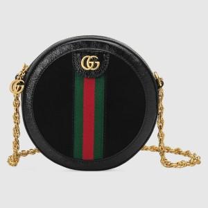 Gucci Black Ophidia Mini Round Shoulder Bag
