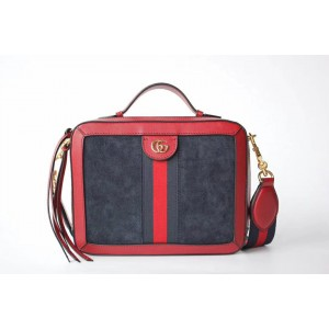 Gucci Blue Suede Ophidia Small Handle Shoulder Bag