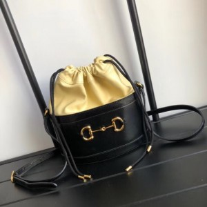 Gucci 1955 Horsebit Bucket Bag In Black Calfskin