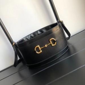 Gucci 1955 Horsebit Bucket Bag In Noir Calfskin