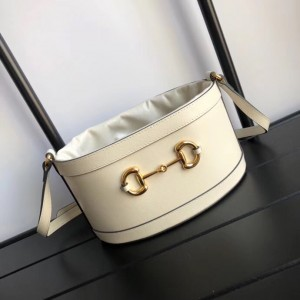 Gucci 1955 Horsebit Bucket Bag In White Calfskin