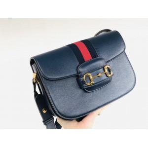 Gucci 1955 Horsebit Shoulder Bag In Blue Leather