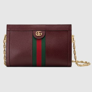 Gucci Bordeaux Ophidia Calfskin Small Shoulder Bag