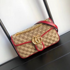 Gucci GG Marmont Small Shoulder Bag In Beige GG Canvas