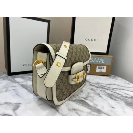 Gucci 1955 Horsebit Small Shoulder Bag With White Trim