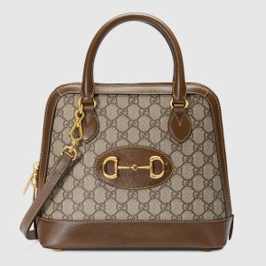 Gucci 1955 Horsebit Small Top Handle Bag In GG Supreme With Brown Trim