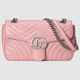 Gucci Pastel Pink GG Marmont Small Matelasse Shoulder Bag