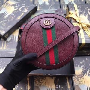 Gucci Bordeaux Calfskin Ophidia Mini Round Shoulder Bag