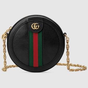Gucci Black Calfskin Ophidia Mini Round Shoulder Bag