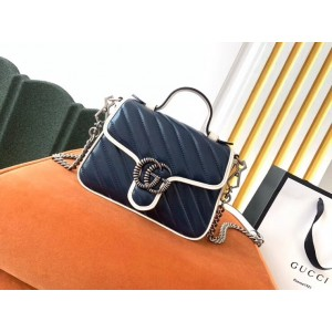 Gucci GG Marmont Mini Top Handle Bag In Blue Diagonal Leather