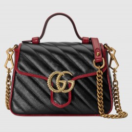 Gucci GG Marmont Mini Top Handle Bag In Black Diagonal Leather