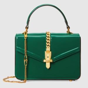 Gucci Sylvie 1969 Patent Mini Top Handle Green Bag
