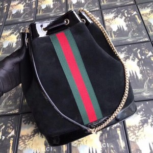 Gucci Black Medium Rajah Bucket Bag