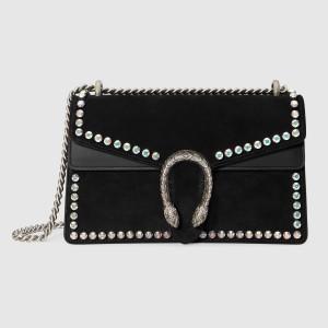 Gucci Black Dionysus Suede Crystal Small Shoulder Bag