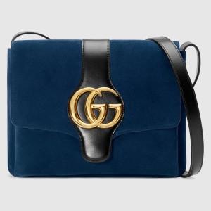 Gucci Blue Suede Arli Medium Shoulder Bag
