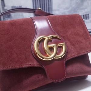 Gucci Bordeaux Suede Arli Medium Shoulder Bag