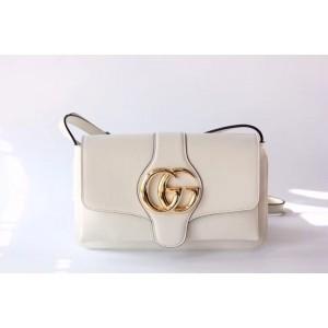 Gucci White Small Arli Leather Shoulder Bag