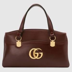 Gucci Burgundy Arli Large Top Handle Leather Bag
