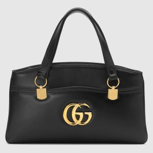 Gucci Black Arli Large Top Handle Leather Bag