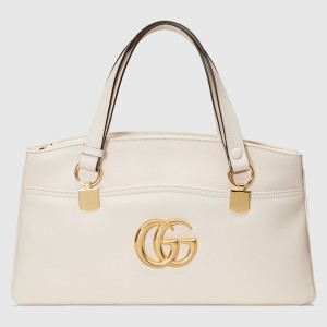 Gucci White Arli Large Top Handle Leather Bag