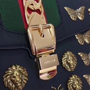 Gucci Black Sylvie Animal Medium Top Handle Bag