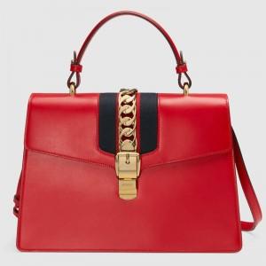 Gucci Red Sylvie Medium Top Handle Bag