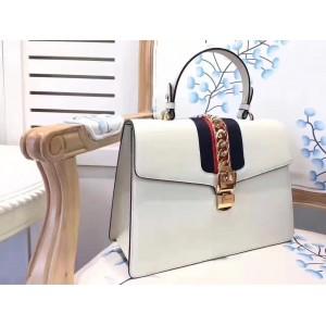 Gucci White Sylvie Medium Top Handle Bag