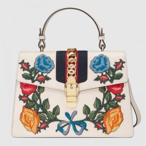 Gucci White Flower Sylvie Medium Top Handle Bag