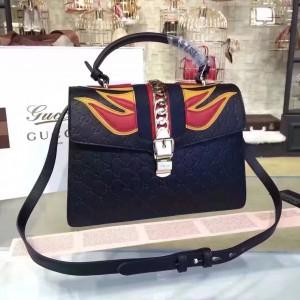 Gucci Black Sylvie Medium Signature Leather Bag