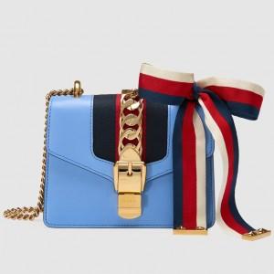 Gucci Blue Leather Sylvie Mini Chain Bag